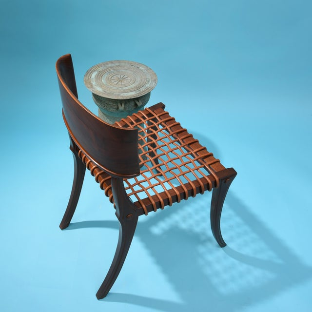 Widdicomb Klismos Chair by T H Robsjohn Gibbings Widdicomb With Original Leather Seat For Sale - Image 4 of 6