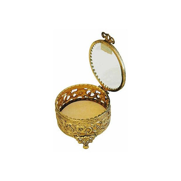 1960s Vintage 24k Gold-Plated Filigree Trinket Jewelry Keepsake Box For Sale - Image 4 of 5
