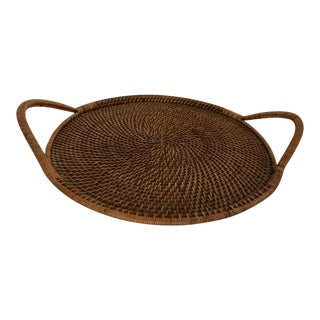 Round Rattan Handled Tray For Sale