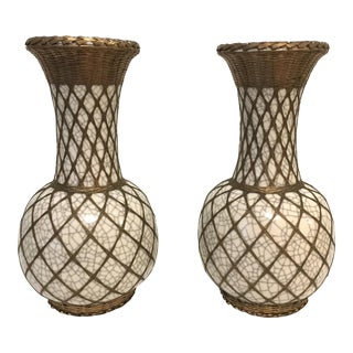 Japanese Pottery Vases With Brass Details - A Pair