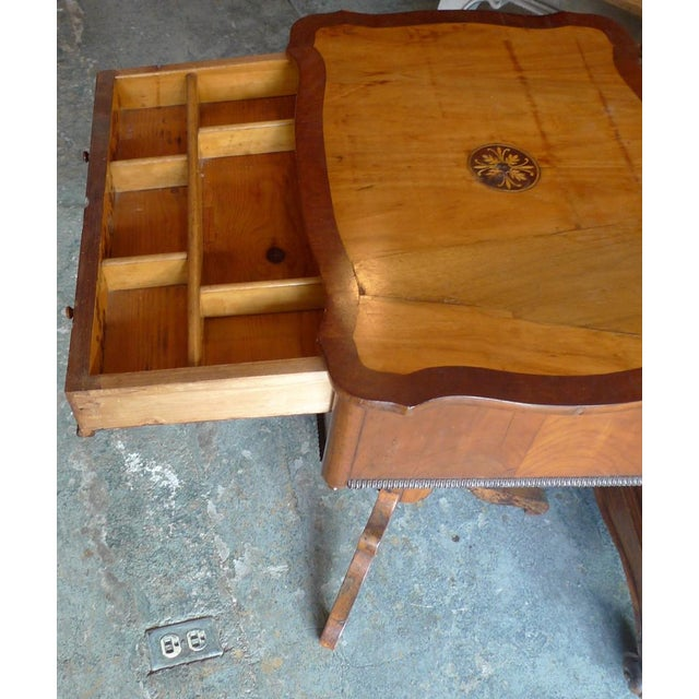 19th Century French Two Drawer Sewing Table With Inlay Top For Sale - Image 4 of 13