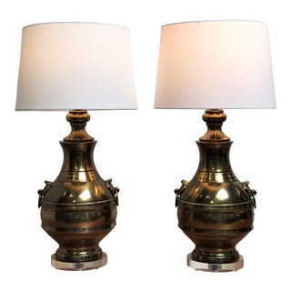 1970s Chinoiserie Brass & Lucite Table Lamps - a Pair For Sale
