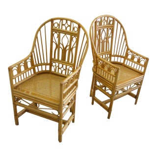 Rattan Brighton Style Chairs - a Pair For Sale