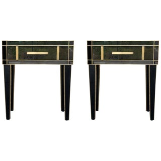 New Pair Mirrored Nightstand in Black Mirror and Chrome With Drawer For Sale