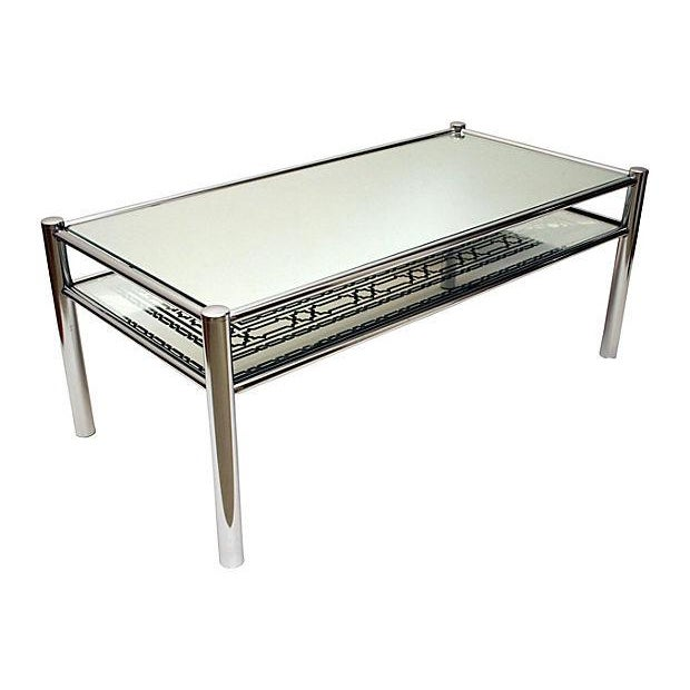 Mirrored Glass & Chrome Cocktail Table - Image 2 of 8