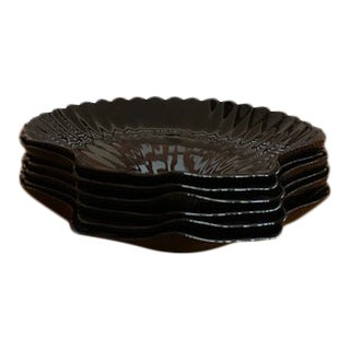 Arcoroc Black Seashell Salad Plates - Set of 6 For Sale