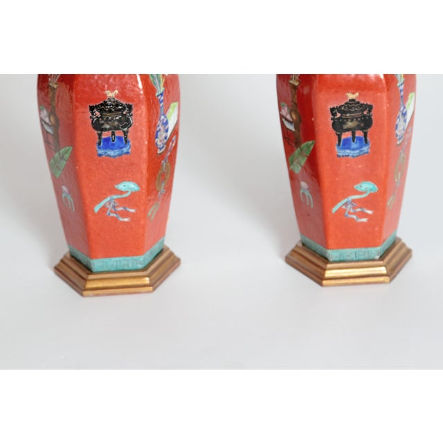 Pair of Early 19th Century Porcelain Chinese Vases as Lamps For Sale - Image 10 of 13