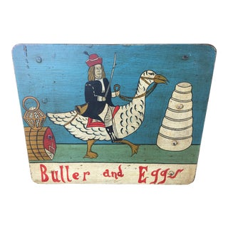 Vintage Wood Advertising Sign Butter And Eggs