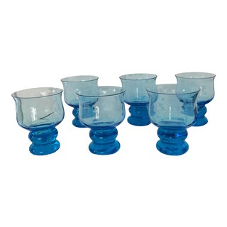 Vintage Hand Blown Rocks Glasses Aqua Blue Turquoise - Set of 6 For Sale