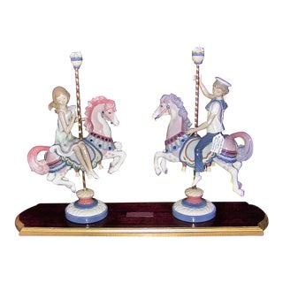 Lladro Retired Boy and Girl on Carousel For Sale