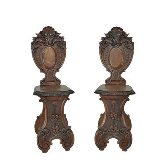 Italian Antique Carved Renaissance Revival Side Chairs - a Pair