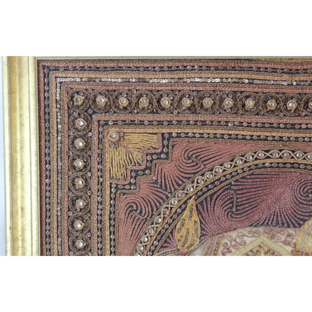 1970s Pasargad DC Hand Made India Beaded Elephant Raised Wall Art - A Pair For Sale - Image 5 of 11