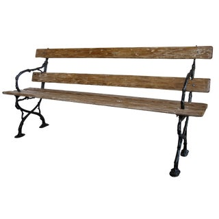 A Long & Well-Crafted French Art Nouveau Pine Garden Bench