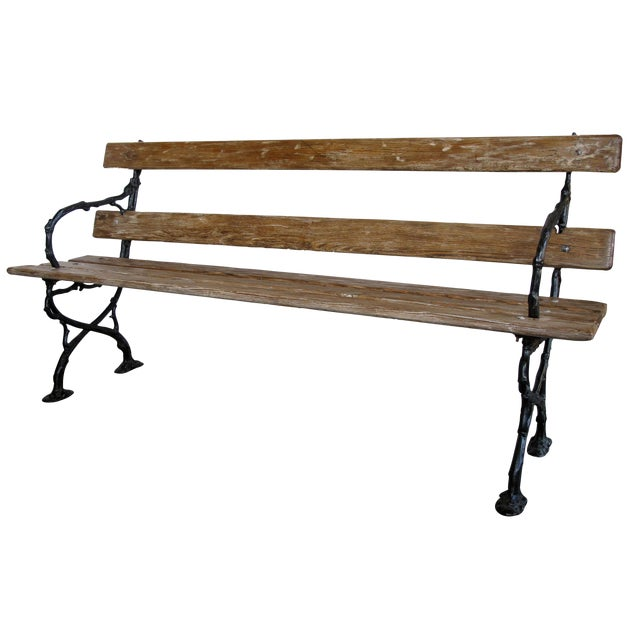 A Long & Well-Crafted French Art Nouveau Pine Garden Bench For Sale