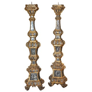 Pair of Large 18th Century Venetian Mirrored Pricket or Altar Sticks For Sale
