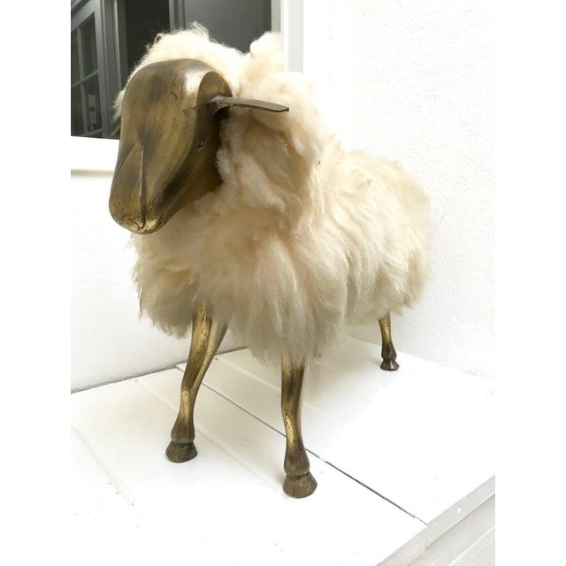 Metal 1960s Vintage Claude Lalanne Style Brass Lamb Sculpture For Sale - Image 7 of 7