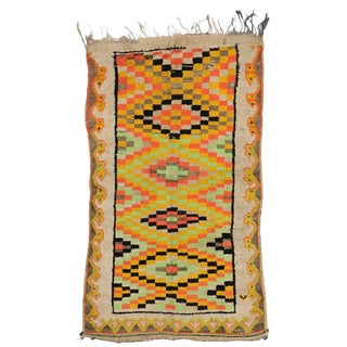 """20th Century Moroccan Bold Colored Berber Rug With Cubism Style - 4'1"""" X 7'2"""" For Sale"""