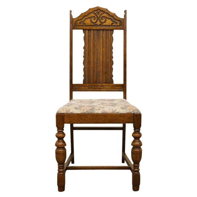 1920's Antique Vintage Gothic Revival Jacobean Dining Side Chair For Sale