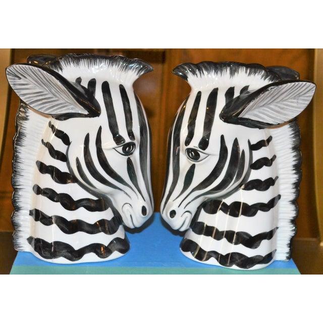 Ceramic 1970s Boho Chic Fitz & Floyd Porcelain Zebra Bookends - a Pair For Sale - Image 7 of 10