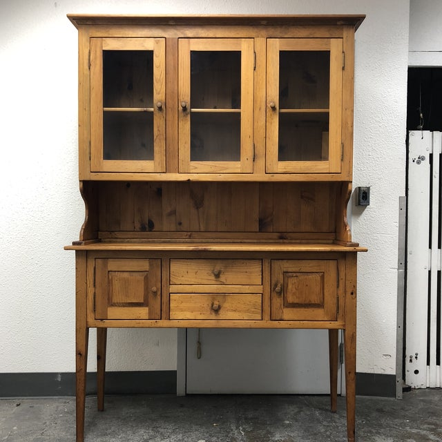 Design Plus Gallery presents a American Vintage Borkholder Sideboard with hutch. Constructed of solid wood, Amish Crafted....