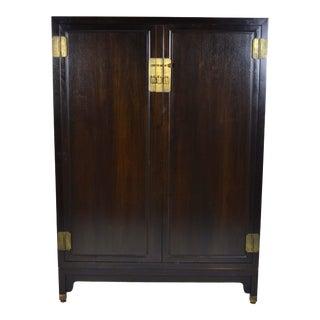 1970s Asian Baker Furniture Co. Ebonized Wardrobe Cabinet For Sale