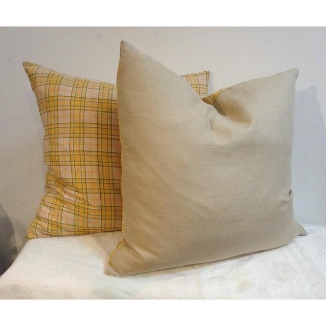 Primitive Pendleton Yellow Plaid Blanket Pillows - Pair For Sale - Image 3 of 4