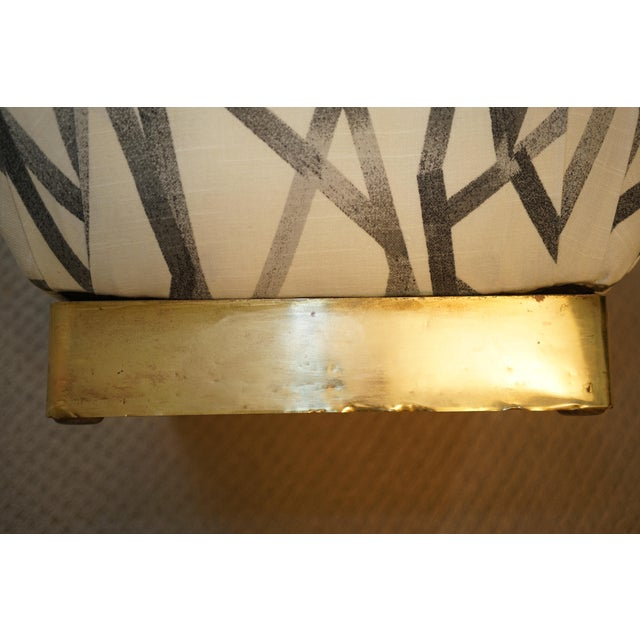 Vintage Brass Base Marge Carson Poufs or Ottomans- a Pair For Sale In Raleigh - Image 6 of 8