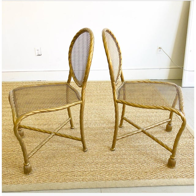 Pair Napoleon III Style Gilt Rope & Tassel Metal Side Chairs For Sale - Image 4 of 10
