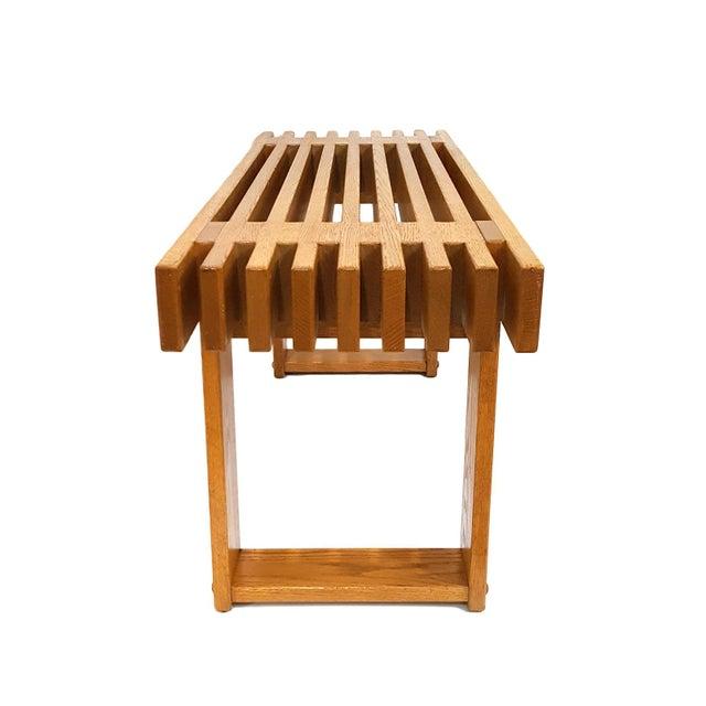 Mid-Century Modern 1960s Mid-Century Modern Oak Slat Bench For Sale - Image 3 of 11