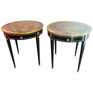 Pair of Bronze Mounted Ebonized Bouillotte / End Tables Mirror Tops Jansen Style For Sale