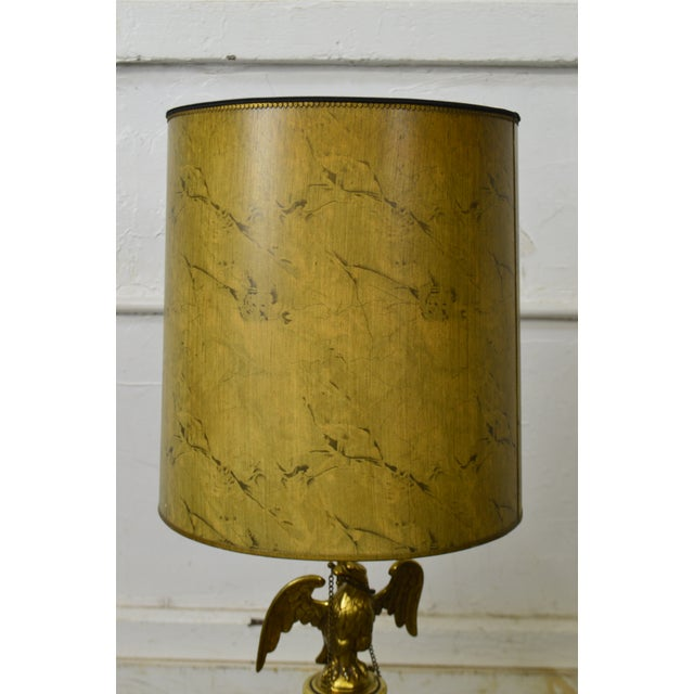 Brass Stiffel Vintage Federal Style Brass American Eagle Table Lamp For Sale - Image 7 of 12