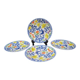 "Ralph Lauren 4pc Luncheon Plate 9"" Set in Mandarin Blue Butterfly Flower Pattern For Sale"