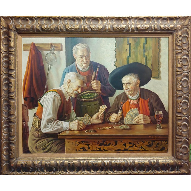 """Otto Eichener -The Card Players -Oil painting oil painting on canvas -Signed frame size 38 x 32"""" canvas size 29 x 24""""..."""