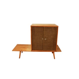 Paul McCobb Planner Group Bench Grass Cloth Cabinet Original by Winchendon Birch Wood For Sale