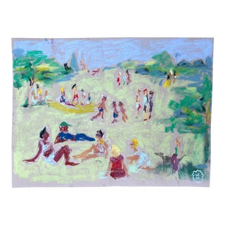 """Happy Menocal """"In the Park"""" Original Gouache and Pastel Work on Paper, Contemporary Illustration"""