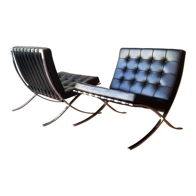 1970's Vintage Barcelona Chair by Knoll - a Pair For Sale