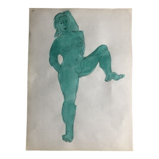 Green Posing Female Nude, Circa 1950s For Sale