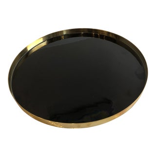 Modern Tozai Home Black and Brass Round Lacquered Tray - Medium