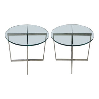 Pair Chrome X Base Round Glass Top Side Tables After Mies Van Der Rohe