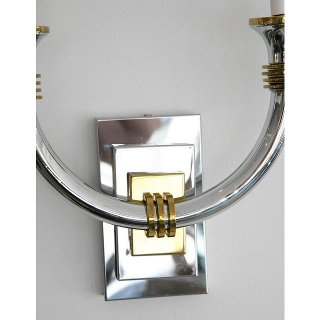 Brass Art Deco Chrome and Brass Wall Sconces - a Pair For Sale - Image 7 of 11