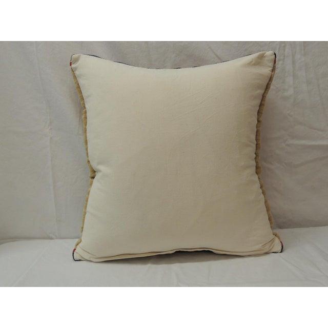 1970s Vintage Orange and Blue Kilim Decorative Pillow For Sale - Image 5 of 6