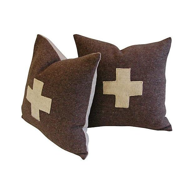 Swiss Wool Appliqué Cross Pillows - Pair - Image 1 of 6