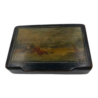Antique Georgian 19th Century Papier Mache Snuff Box For Sale