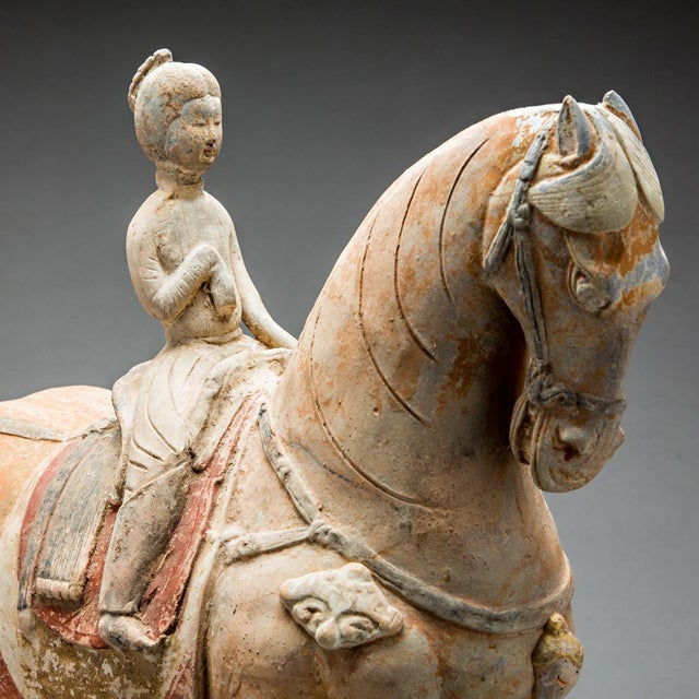 Asian Tang Painted Terracotta Sculpture of a Horse and Female Rider For Sale - Image 3 of 4