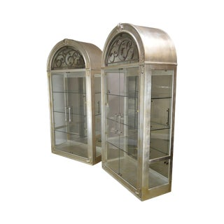 Henredon Silver Leaf Large Pair Arch Top Curio Display Cabinets For Sale