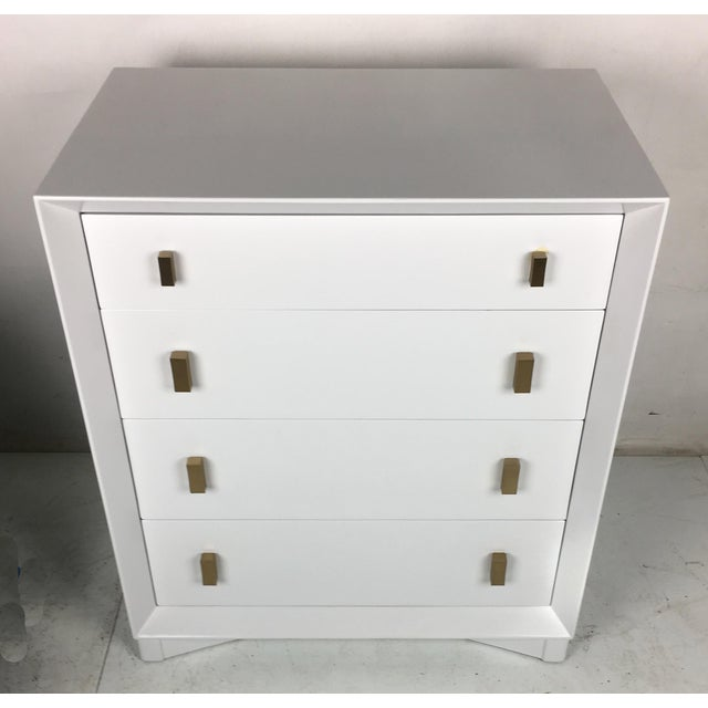 John Stuart Pale Grey Commode by Plymouth Furniture for John Stuart Ny For Sale - Image 4 of 6
