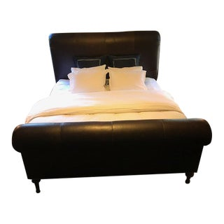 Ralph Lauren Eastern King Leather Sleigh Bed W Nailhead For Sale