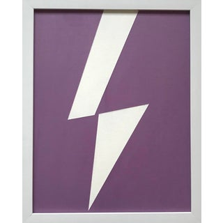 "Minimalist Max & Alma Wolf Original Acrylic Painting, ""White Lightning"" For Sale"