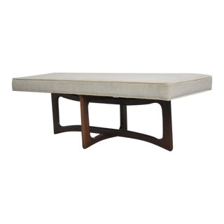 Mid-Century Sculptural Walnut Bench with Cream Upholstery For Sale