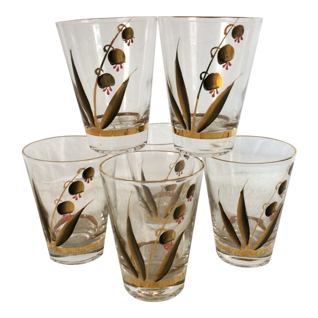 Beautiful Mid-Century Modern Hand Blown & Hand Painted With 22 Kt Gold Coral Bells Floral Design - Set of 6 For Sale